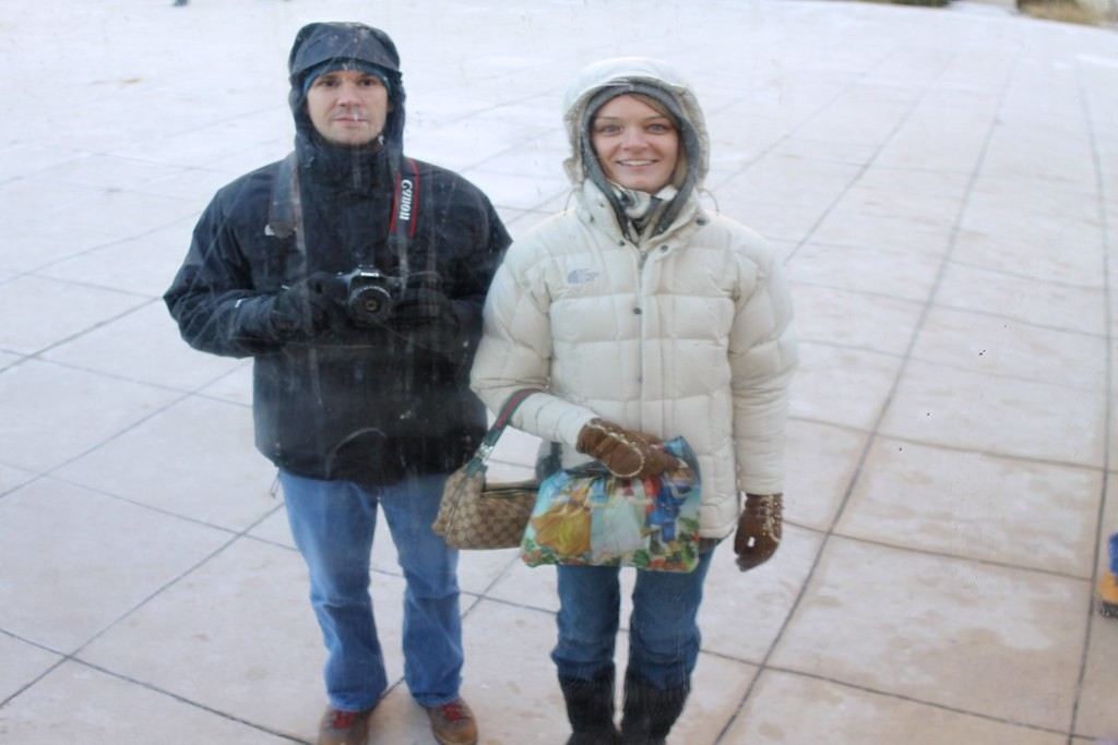 Brian & Jaclyn Reflected in The Bean